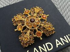 ALEX and ANI SIGNED VINTAGE 66 QUEEN CROWN Topaz SWAROVSKI Crystal Brooch PIN ��