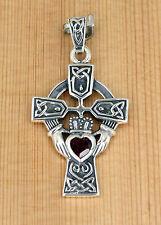 Anhänger Silber Granat - Keltische Knoten - Kreuz - Dreifaltigkeit - Claddagh