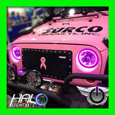 2007-2014 JEEP WRANGLER PINK SMD LED HALO HEADLIGHT LIGHT KIT 2 Rings by ORACLE