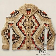 $1200 RRL Ralph Lauren Tan Hand Knit Linen Cotton Blend Shawl Cardigan-MEN- L