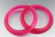 Lot of 2 Vintage 70's Transparent Pink Plastic Lucite Bangle Bracelets