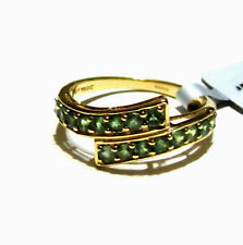 10K Yellow Gold Rare Green Alexandrite Round Bypass Band Ring, Size 7, 0.78(TCW)