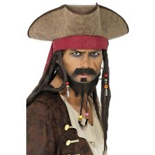 Unisex Sombrero De Pirata Con Rastas Fancy Dress Caribe Jack Sparrow Brown Película