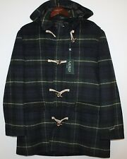 Polo Ralph Lauren Mens Green Black Tartan Plaid Wool Overcoat Jacket NWT XL