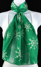New Snowflakes Womens Christmas Holiday Gift Scarf Scarfs Ladies Green Scarves