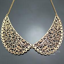 Ornate Vintage Gold Filigree Peter Pan Collar Swirl Chain Choker Necklace Gift