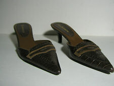Womens Enzo Angiolini shoes slides - sz 6M - Leather - Faux brown alligator