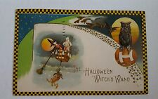 Witch in Balloon Owl Pumpkin Yellow Checkered Border Winsch Halloween postcard