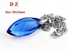 c011476 Faceted Crystal Glass Chic Blue Oval Bicone Bead Pendant Chain Necklace