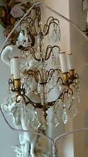 "SHABBY Antique VTG CRYSTAL PRISM ""FRENCH STYLE"" chandelier LAMP GLASS"