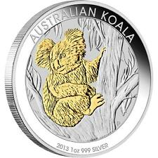 2013 Australian Koala 1oz Silver Proof, Gold Gilded Coin - Perth Mint