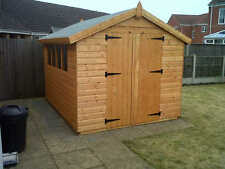 "WOODEN GARDEN SHED,12X8 APEX ,13MM T/G ,3X2CLS FRAMING,1""THICK FLOOR"