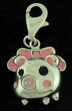 925 STERLING SILVER 25MM PINK BOW PIG DROP CHARM PENDANT FOR CHARM BRACELETS