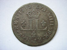 ++ FRENCH COLONIAL 30 DENIERS MUSKETEER 1712 D ++