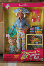 GARDENING FUN BARBIE DOLL AND KELLY DOLL GIFT SET, MATTEL # 17242, 1996, NRFB
