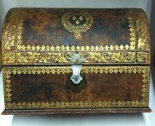 19TH CENTURY TOOLED LEATHER FRENCH LETTER AND DOCUMENT BOX- Price Reduction!