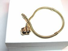"Genuine Pandora Bracelet Barrel clasp 14kt Gold 550702 19cm  7.5"" All Gold NEW"