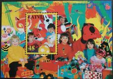 Children with toys stamp sheet, Latvia, 1996, 48s stamp, SG ref: MS444, MNH