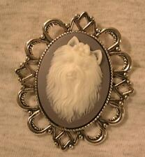 Handsome Festooned Gray Blue & White Pekinese Dog Cameo Silvertn Brooch Pin