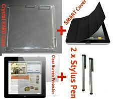 iPad 2 Black SMART Cover + Screen Protector + Crystal Clear Hard Case + 2 Stylus