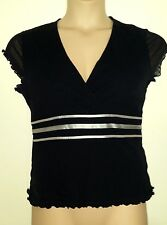 NEXT BLACK STRETCH & GREY RIBBON TRIM CROSSOVER NECK MESH TOP 16