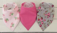 Bandana Dribble Bib Bundle x 3 Girls - Pink & Grey Floral Mix ������