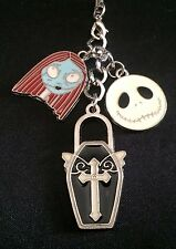 Nightmare Before Christmas Metal Cell Phone Charm Sally and Jack Skellington