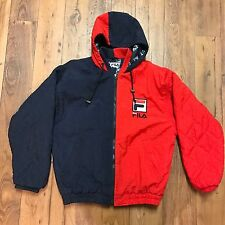 FILA Vintage 90s Blue/Red Colorblock Quilted Logo Jacket Hooded Coat Puffer M