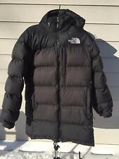 THE NORTH FACE Black Down 700 - Long - Quilted Puffer Coat Jacket - Stow Hood -M