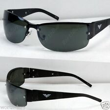 New Mens Black Frame Green Lens  Rectangular Sunglasses Shades Sport Designer