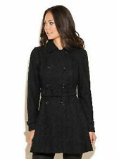 NWT $198 GUESS KATE Belted LACE TRENCH COAT BLACK  XS