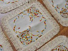 9 Vintage Arts & Crafts Silk Embroidered Linen Placemats or Doilies