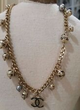 "Vintage Rare Hand Painted 06A Chanel CC Pearl Necklace- 17""- STUNNING"