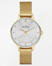 SKAGEN Women's 30mm Gold Steel Bracelet & Case Mineral Glass Watch SKW2150 NEW