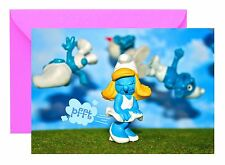 VINTAGE SMURF TOY SMURFETTE FARTED PFFT! GREETINGS BIRTHDAY CARD BLANK
