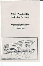 MF-041 - U.S.S. Waukesha, Dedication Ceremony, 1987, Waukesha, Wisconsin Program