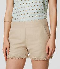 """Ann Taylor LOFT - 10 (M) - NWT $59 - Sand Storm Linen/Cotton 4"""" Fringe Shorts"""