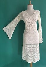 VTG 70s BoHo Sheer CUT OUT Hippie White Crochet LACE Angel Wedding MiDi DRESS