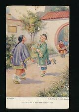 CHINA At play in a Chinese Courtyard artist drawn c1900/20s? PPC