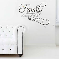 Vinyl Family Is What Love Removable Decal Word Art Mural Home Decor Wall Sticker