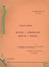 PILOT'S NOTES: FAIREY BATTLE/FIGHTER-BOMBER(28 Pages)+FREE 2-10 PAGE INFO PACK