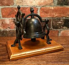 Cast Iron Nautical Ship Wheel Table Bell with Wood Base