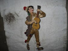 """12"""" Klumpe Cloth Doll Man with Label, tag and Guitar Made in Barcelona Spain"""
