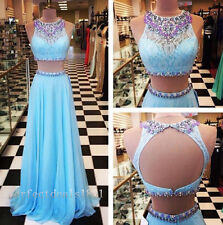Sexy Beading Two-Piece Evening Dresses Chiffon/Lace Prom Party FormalGown Custom
