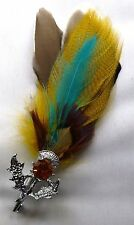 PLUME BROOCH WITH FAUX CAIRNGORM STONE & THISTLE SETTING by MIRACLE NEW PL016
