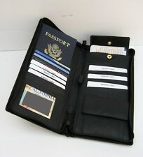 Passport Travel Ticket Boarding Pass Holder Insert Leather Organizer Black  New!