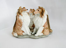 "Sable Rough Collie 5 Sculptures in a Circle Candle Holder-4"" High X 6"" Across"