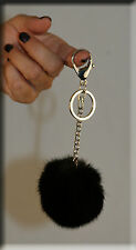New Black Mink Fur Key Chain - Extra Large Size - Efurs4less