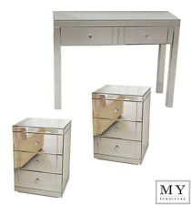 MY-Furniture Mirrored Dressing Table and 2 x 3 Drawer Mirrored Bedside Tables