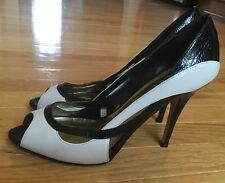 Bakers Women's White Black Open Toe High Heels Leather Shoes Pumps Size 9 B
